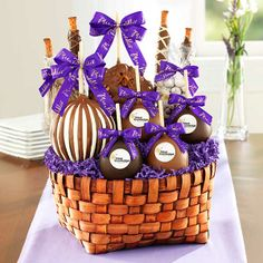 Premium Signature Basket. $100. Call 1-800-567-9089 Chocolate Caramels, Chocolate Dipped, Holiday Gifts, Holiday Cards, Apple Dip, Apple Recipes, Tis The Season, Gift Baskets, Dips