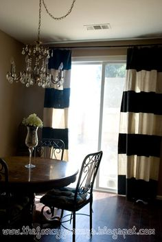 Vintage Romance: diy striped canvas drop cloth curtain tutorial - french doors in dining room Drop Cloth Curtains, Diy Curtains, Canvas Curtains, Striped Curtains, Small Basement Remodel, Basement Remodeling, Living Room Remodel, Apartment Living, Curtain Tutorial