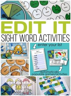You enter your Sight Words into a list and it automatically populates ALL your activities at one time. One set for each month. Learning Sight Words, Sight Words List, Sight Word Practice, Sight Word Games, Sight Word Activities, Alphabet Activities, Reading Activities, Literacy Activities, Literacy Centers
