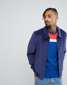 ASOS Cord Harrington Jacket in Blue - Navy