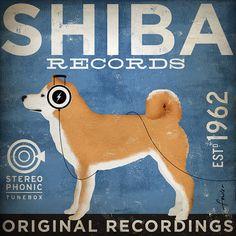 Shiba Inu records original graphic illustration by geministudio, $79.00