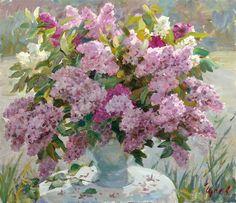 A arte do Pintor Vladimir Gusev Lilac Flowers, Beautiful Flowers, Watercolor And Ink, Watercolor Paintings, Garden Painting, Ink Art, Beautiful Paintings, Flower Art, Art Gallery