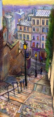 "Yuriy Shevchuk; Pastel, 2009, Drawing ""Paris Montmartre"" ---I JUST bought the actual poster of this shot in Paris. except they put a cpuple on the stairs. God I love RCTP."