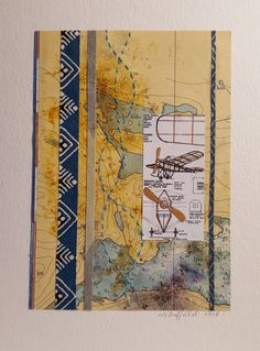 Homebuilt 2 Mixed media collage: found papers, map, japanese paper, cotton thread, gouache www.wduffieldart.com #mixedmedia #mixedmediaart #wduffieldart #yyjartist# victoriaartist #bcartist  #canadianartist #buyhandmade  #oneofakind #uniquegifts #collage #aviation #vintage #map Japanese Paper, Canadian Artists, Mixed Media Collage, Cotton Thread, Gouache, Aviation, Unique Gifts, Map, Vintage