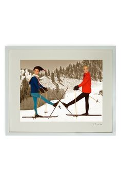Hand-Signed Boys Skiing in Aspen Framed Print by Barbie and Ken
