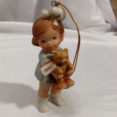 Time For Bed 1990 Girl Bear Ornament #Enesco  Memories of Yesterday Lucie Attwell#christmastime #figurines