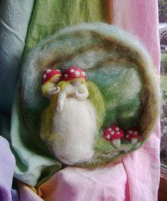 Wool Waldorf  wall circle art  Toadstool Mother by softearthart, $45.00