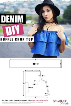DIY Super easy light-weight denim off shoulder crop top. In this DIY I show you how to make a super easy light-weight denim off-the-shoulder crop top. This style of top is so on trend right now as it features romant For all you guys living that DIY life. Diy Clothing, Sewing Clothes, Dress Sewing Patterns, Clothing Patterns, Fashion Sewing, Diy Fashion, Diy Vetement, Diy Tops, Creation Couture