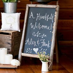 Self Standing Chalkboard Sign With Rustic Wood Frame Available for purchase online at http://madelinesweddings.weddingstar.com/product/self-standing-chalkboard-sign-with-rustic-wood-frame