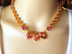 Astral Pink Pears, Swarovski Necklace, Bridal, Formal, Pink, Orange, DKSJewelrydesigns