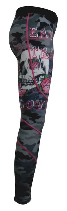 LONG COMPRESSION LEGGING IN BLACK/GREY CAMOWITH EAT TRAIN LOVE SKULLPRINT & MED PINK STITCH DETAIL ELASTICATED WAISTBAND FABRIC: 230g POLY SPANDEX (SEMI-L