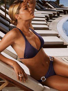 Victoria's Secret Very Sexy Racerback Halter Top & Scoop Bottom in plum. $62 #Swim #Summer #VS