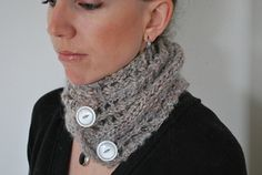 C O U N T L E S S - Scarf design by Lisa Mutch - A simple, lacy scarf that can be buttoned up into a moebius, scarf, cowl, headband or pretty much anything else you can think of. Using only 94 yards of thick and thin handspun yarn, it's perfect for that small amount of special yarn you've been saving. http://www.ravelry.com/patterns/library/countless