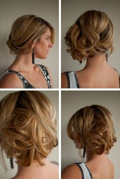 create the look of shorter hair by creating a loose side bun like this messy chignon and add a jewelled hair accessory. by scarpasas