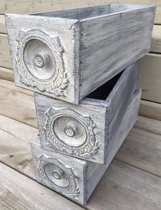 Rustic Singer sewing machine drawers from 1906. AS Old White base, then dry brushed with Paris Grey and Graphite ~The Decor Vault~