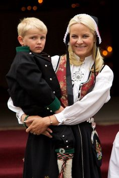 Prince Sverre Magnus of Norway and Princess MetteMarit of Norway attend The Children's Parade on May 17 2011 in Asker Norway