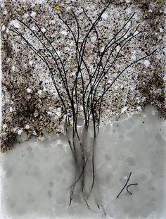 Glass sheet, copper wire, frit.  Sold. Buy similar on www.etsy.com/shop/KCheetham.