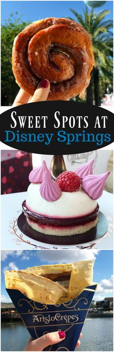Disney Springs at Walt Disney World is one of the best places to grab dinner, drinks and dessert. Explore eight of my favorite Sweet Spots at Disney Springs including Amorette's Patisserie, Ghirardelli Ice Cream and Chocolate Shop and more!