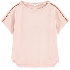 Cotton fleece    Comfortable item Crew neck Loose collar Short sleeves Fancy pearls Embroidered brand - $ 97