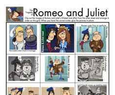 Your students will have fun as they review the characters and events of Romeo & Juliet in this colorful, hands-on activity. Clip, sort, and dig back into the text to find illustrative quotations. Lots of busy fun for middle and high school students.