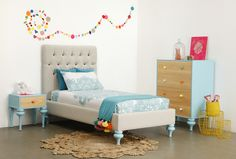 What a fresh and bright colour palette for a young teen bedroom. http://www.thegildedpear.com.au/product-category/shop-by-room/shop-by-brand/lilly-and-lolly/