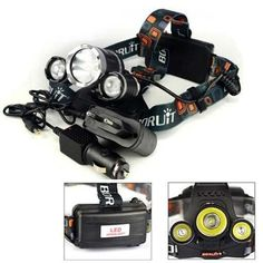 HOT Boruit 5000 Lumen 3XCREE XM-L T6 LED Headlamp Headlight 18650 Head Torch Lamp+AC Charger+Car Charger for Outdoor Camping