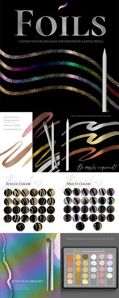 Foil Brushes for Procreate 5 - PrettyWebz Media Business Templates & Graphics Blog Design, Web Design, Graphic Design, Letter Composition, Stationery Paper, Metallic Paint, Blogging For Beginners, Make Money Blogging, Brushes