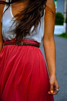 cute skirt and belt.