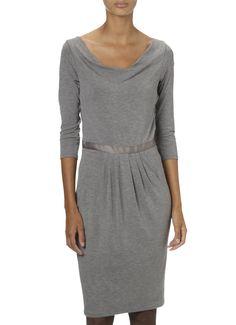 de Bijenkorf Korte jurk met watervalhals en decoratieve tailleband