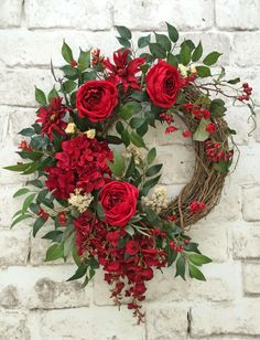 Red Summer Wreath for Door Front Door Wreath by AdorabellaWreaths