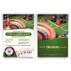 #Einladungskarten im #Casino Look in Spielmatten Grün. Mit eigenem Text. Auf http://www.kartenmachen.de/shop/einladungskarte-casino.html
