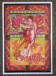 Concert poster for Janis Joplin at The Avalon Ballroom in San Francisco, CA in 1967.  16.5 x 24 inches on card stock. Art by Bob Masse.