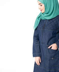 Beautifully quilted denim design jilbab unique to you and your style. Denim is one of our bestsellers and one of your favorite fabrics Abaya Fashion, Modest Fashion, Fashion Outfits, Islamic Fashion, Shirt Skirt, Indigo, Your Style, Turtle Neck, Hoodies