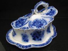 Antique 19th C Flow Blue Cheese Dish Cover | 80