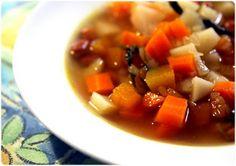 Sopa de legumes e feijão-manteiga