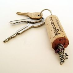 DIY: 37 CREATIVE IDEAS HOW TO USE WINE CORK. This would make your keys float if you ever dropped them in water!