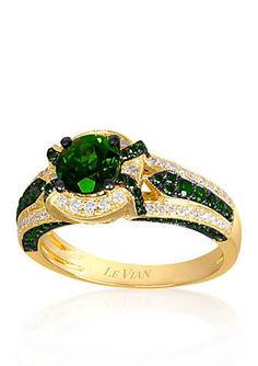 Love the lively greens?  Le Vian® 14k Honey Gold™ Pistacio Diopside™, Kiwiberry Green Diamond™, and Vanilla Diamond® Ring, a Belk Exclusive!