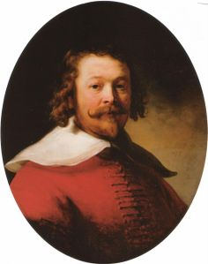 Portrait of a bearded man, bust length, in a red doublet, 1633