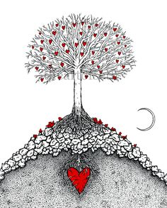 The Great Tree with moon print of original heart by theartofseth