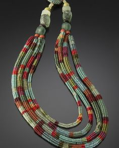 Four Tier Tube Necklace Patina Leaf and Coral by Julie Powell (Beaded Necklace) .