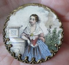 Large Antique, Hand Tinted Lithograph button, Godey (magazine), Like, Woman