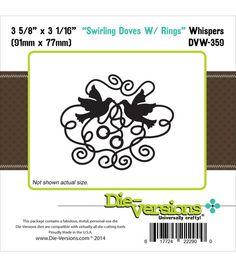 Die-Versions Whispers Die-Swirling Doves With Rings 3.625