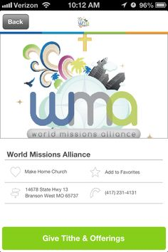 World Missions Alliance in Branson West, Missouri #GivelifyChurches