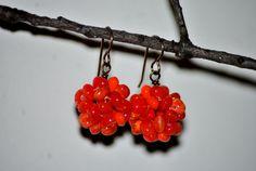Orange Swirl Bead Cluster Dangle Earrings by houseofTROCK on Etsy