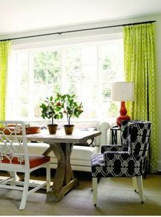 X base table, lime green curtains, dining room decor Seattle Homes, Green Curtains, Bright Curtains, Layout, Dining Area, Dining Rooms, Dining Table, Wood Table, Great Rooms