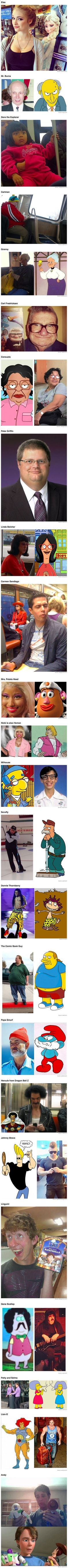 Here are some real people who look just like famous cartoon characters.