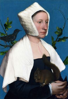 """The subject of this portrait was identified in 2004 as Anne Lovell, wife of Sir Francis Lovell (d. 1551), an esquire of the body to Henry VIII. David J. King, in his article """"Who was Holbein's lady with a squirrel and a starling?"""", proposed that the starling in the painting encodes a pun on the Lovell family's seat at East Harling, Norfolk.[1] The starling and the squirrel were traditional elements in the Lovell iconography.[2] Holbein painted the portrait during his first visit to England…"""