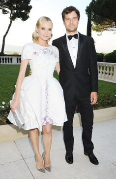Diane Kruger in Chanel with Joshua Jackson in 2012.