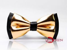 Mens PVC Faux Leather Gold Golden Black Shining Bow Tie Bowties Wedding Party #BowTie