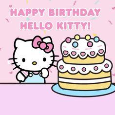 Hello Kitty My Melody, Sanrio Hello Kitty, Happy Brithday, Happy Birthday Cards, Hello Kitty Imagenes, Kitty Cafe, Hello Kitty Backgrounds, Gifs, Hello Kitty Pictures